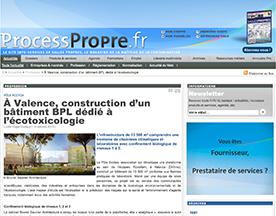 Process Propre parle de la réalisation du Pôle ECOTOX