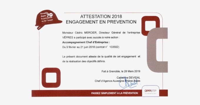 Attestation OPPBTP engagement et prévention